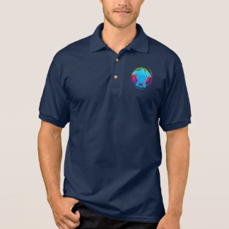 Sea Turtle in Rainbow Swirl Polo Shirt