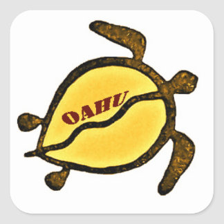 Sea Turtle Island of Oahu Square Sticker
