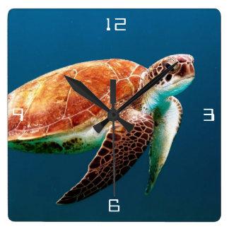Sea Turtle Large Square Wall Clock