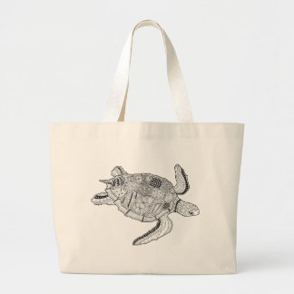 Sea Turtle Line Art Design Large Tote Bag