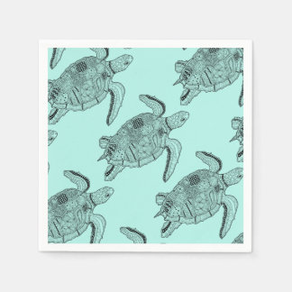 Sea Turtle Lineart Design Disposable Napkins