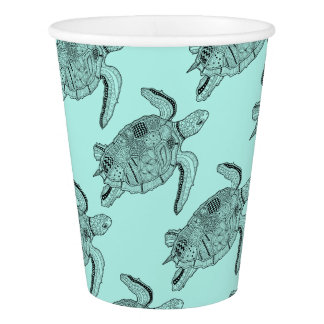Sea Turtle Lineart Design Paper Cup