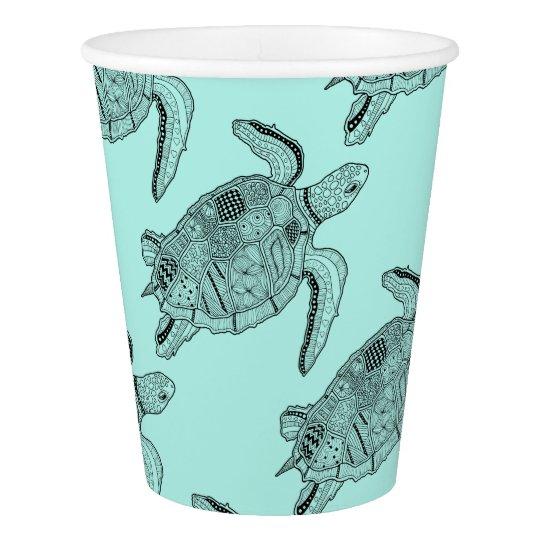 Sea Turtle Lineart Design Paper Cup