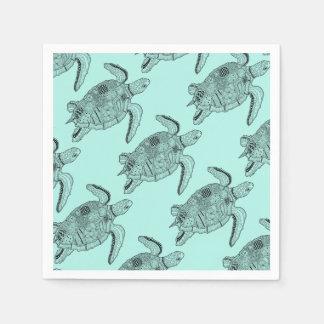 Sea Turtle Lineart Design Paper Napkin