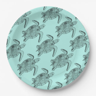 Sea Turtle Lineart Design Paper Plate