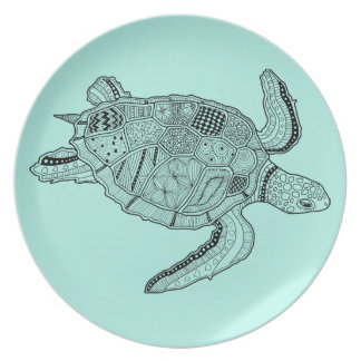Sea Turtle Lineart Design Party Plate