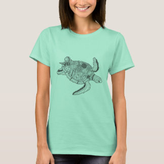 Sea Turtle Lineart Design T-Shirt