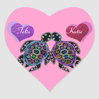 Sea Turtle Love Song Heart Sticker