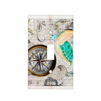Sea turtle Map Beige Light Switch Cover