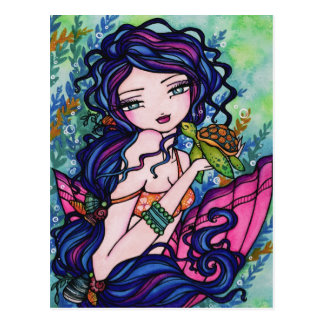Sea Turtle Mermaid Fantasy Marine Art Postcard