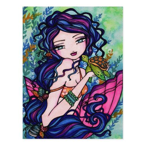 Sea Turtle Mermaid Fantasy Marine Art Postcard