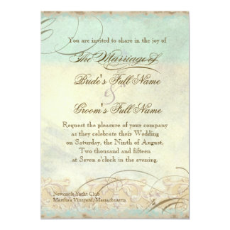 "Sea Turtle Modern Coastal Ocean Beach Swirls Style 5"" X 7"" Invitation Card"