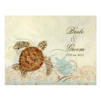 Sea Turtle Modern Coastal Ocean Beach Swirls Style Postcard