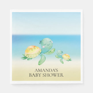 Sea Turtle Neutral Baby Shower Paper Napkins