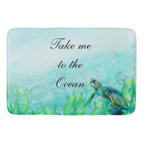 Sea Turtle Ocean Beach Art Elegant Tropical Chic Bathroom Mat