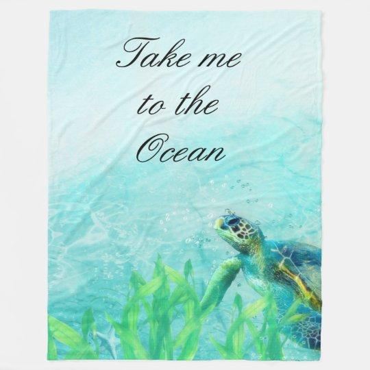 Sea Turtle Ocean Beach Art Elegant Tropical Chic Fleece Blanket