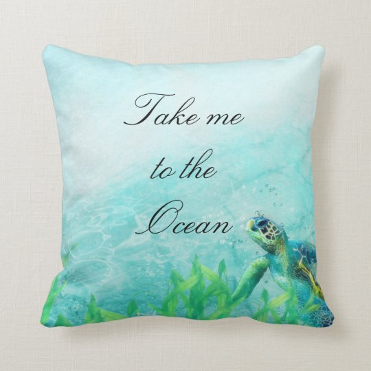 Sea Turtle Ocean Beach Art Elegant Tropical Chic Throw Pillow