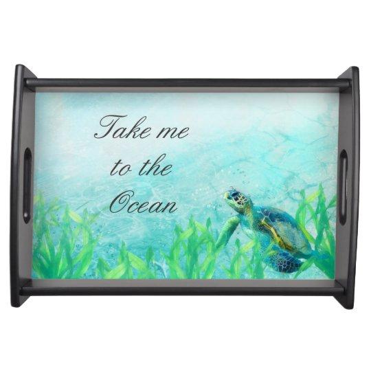 Sea Turtle Ocean Beach Art Elegant Tropical Custom Serving Platter