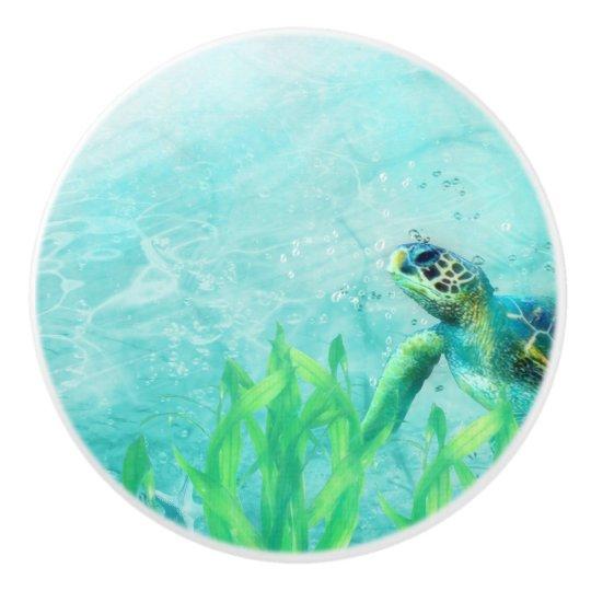 Sea Turtle Ocean Beach Art Elegant Tropical Decor Ceramic Knob