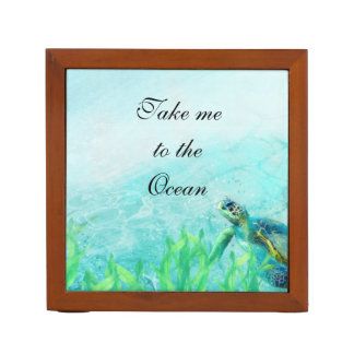 Sea Turtle Ocean Beach Art Elegant Tropical Desk Organizer