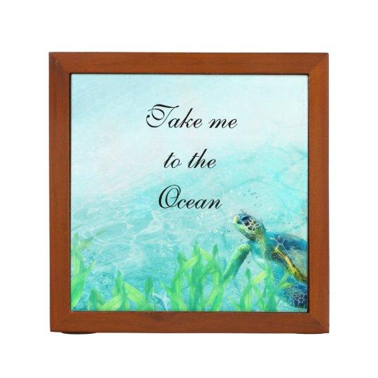 Sea Turtle Ocean Beach Art Elegant Tropical Desk Organizer