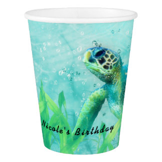 Sea Turtle Ocean Beach Art Elegant Tropical Party Paper Cup
