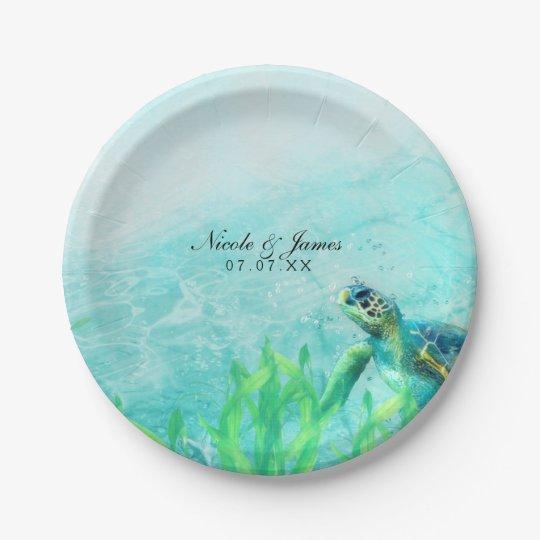 Sea Turtle Ocean Beach Art Elegant Wedding Custom 7 Inch Paper Plate