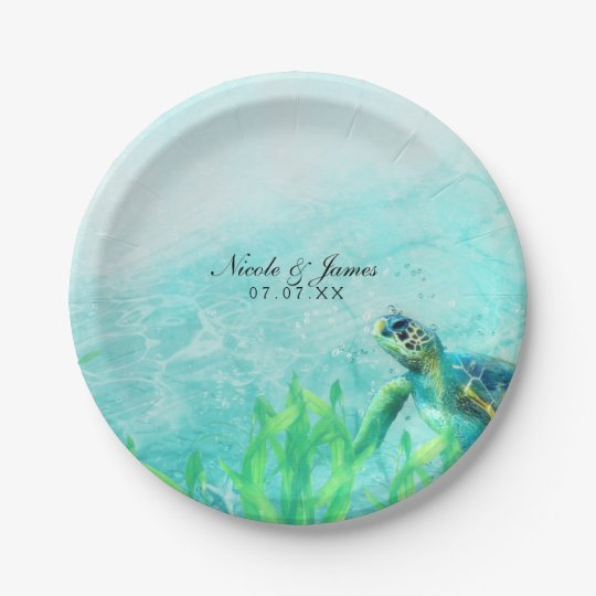 Sea Turtle Ocean Beach Art Elegant Wedding Custom Paper Plate