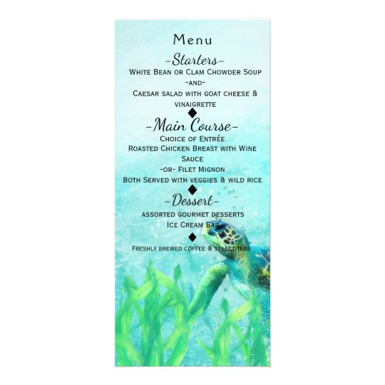 Sea Turtle Ocean Beach Art Elegant Wedding Menu Rack Card Design