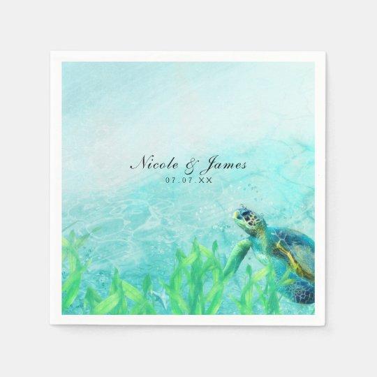 Sea Turtle Ocean Beach Art Elegant Wedding Paper Napkins