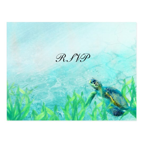 Sea Turtle Ocean Beach Art Elegant Wedding RSVP Postcard