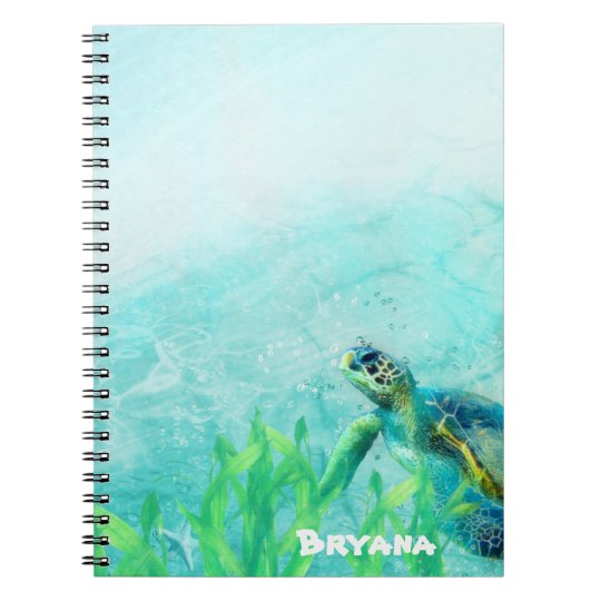 Sea Turtle Ocean Beach Art Personalized Custom Spiral Notebook