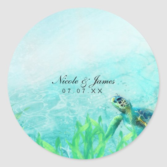 Sea Turtle Ocean Beach Art Wedding Custom Favour Round Sticker