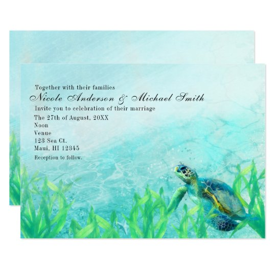 Sea Turtle Ocean Beach Art Wedding Invitations