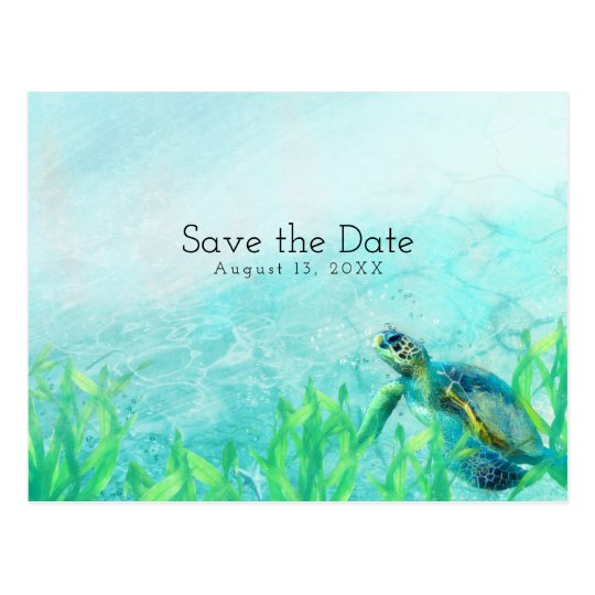 Sea Turtle Ocean Beach Art Wedding Save the Date Postcard