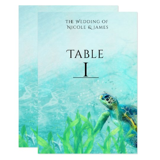 Sea Turtle Ocean Beach Art Wedding Table Number Card