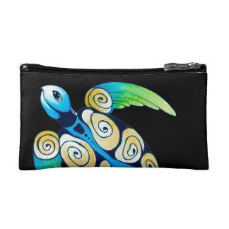 Sea Turtle On Black Cosmetic Bag