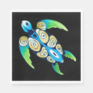 Sea Turtle On Black Disposable Napkin
