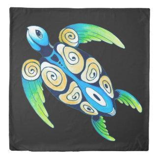 Sea Turtle On Black Duvet Cover