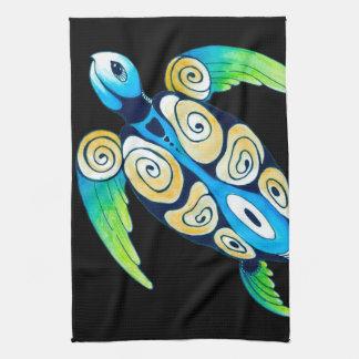 Sea Turtle On Black Kitchen Towel
