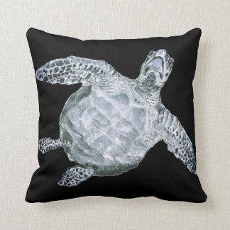 Sea Turtle on Black Throw Pillow