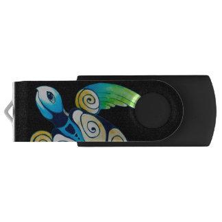 Sea Turtle On Black USB Flash Drive