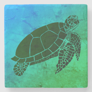 Sea Turtle on Blue and Green Background Stone Coaster