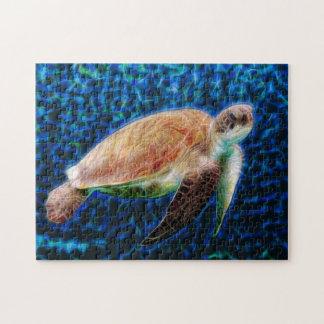 Sea Turtle on Blue Background Honu Jigsaw Puzzle