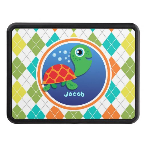 Sea Turtle on Colorful Argyle Pattern Trailer Hitch Cover