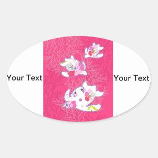 Sea turtle on pink background. oval sticker