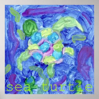 Sea Turtle ~ Original Children's Art Poster