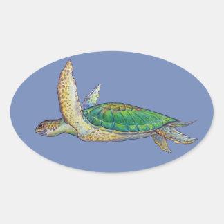 sea turtle oval sticker