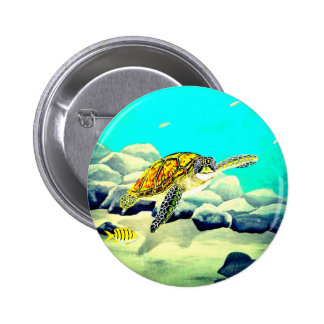 Sea Turtle Painting Beautiful Blue Sea 2 Inch Round Button