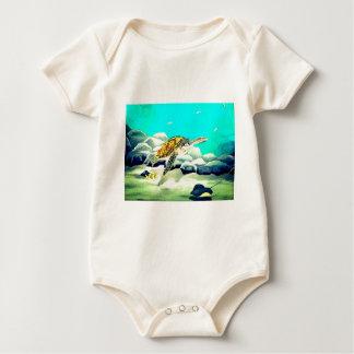 Sea Turtle Painting Beautiful Blue Sea Baby Bodysuit